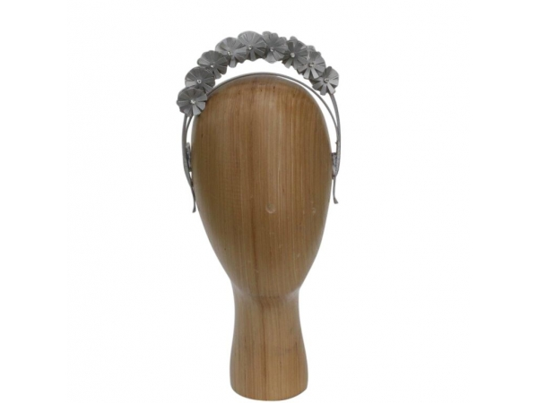 Silver PU & Crystal Hair Band