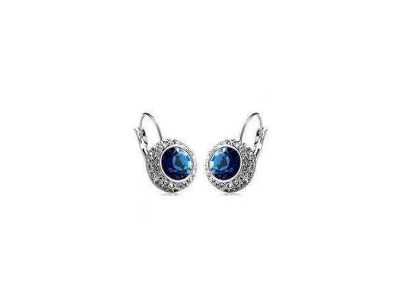 E198n  Navy crystal earring
