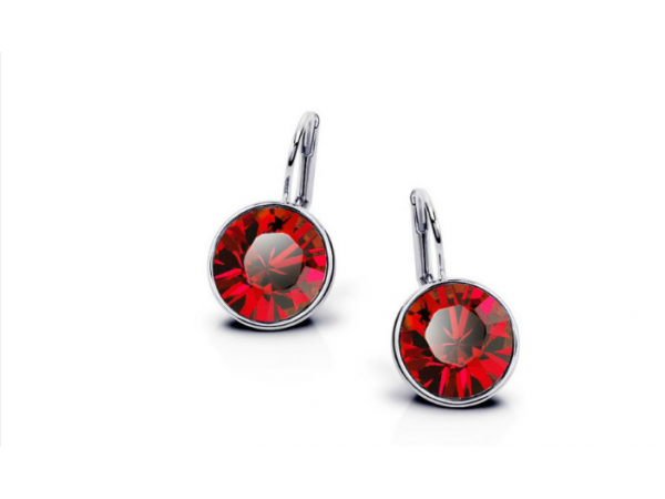 E227 Silver & red crystal