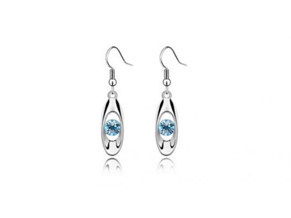 E231Tq Silver & crystal earring