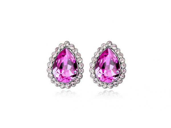 E218pk Teardrop crystal earring