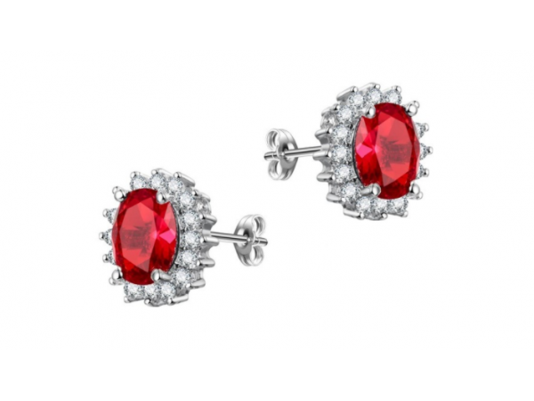 E442 Red Crystal Stud Earring