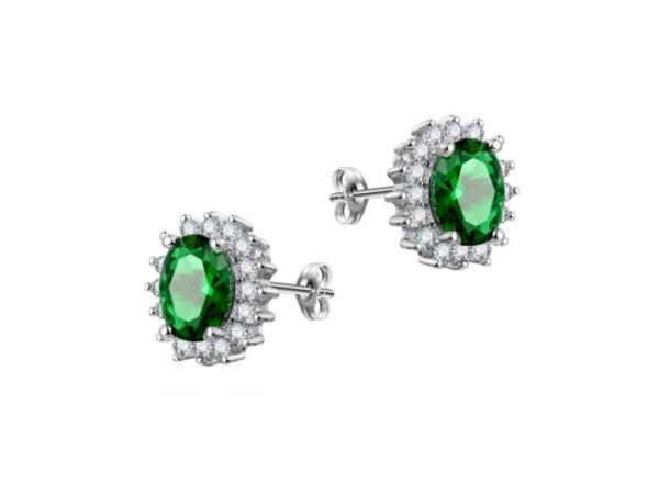 E442 Emerald Crystal Stud Earring