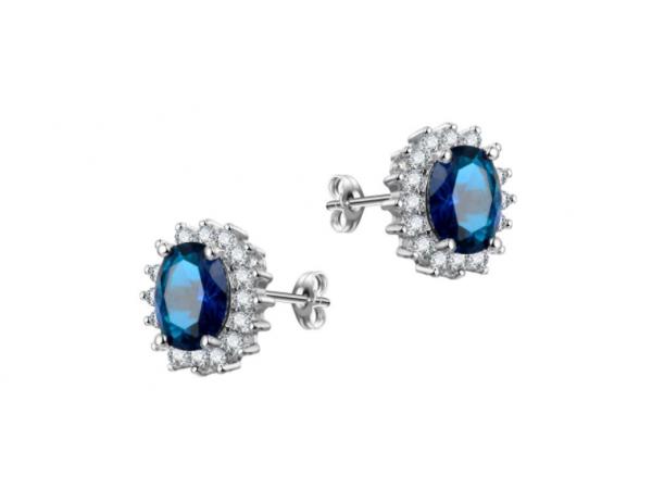 E442 Navy Crystal Stud Earring
