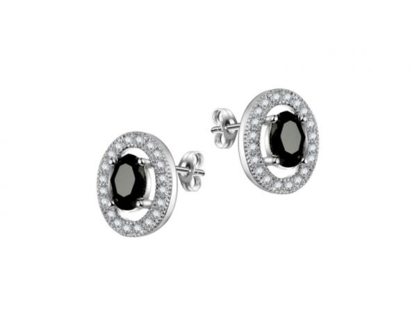 E440bk Black Crystal Stud Earring