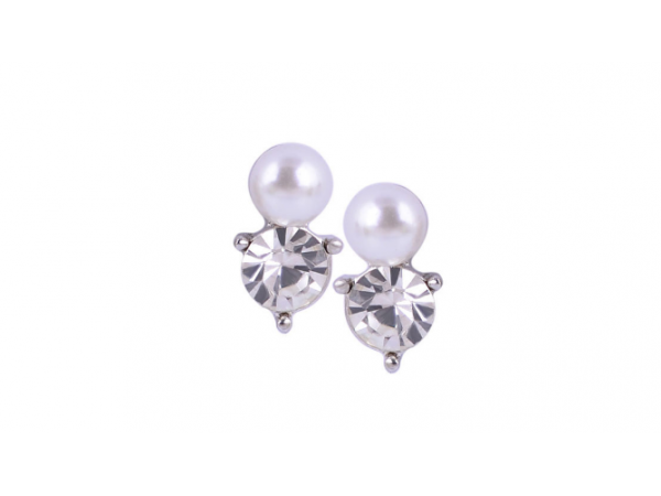 E238 Small pearl & crystal stud