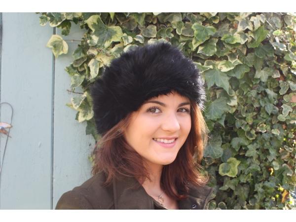 Fur Headband black