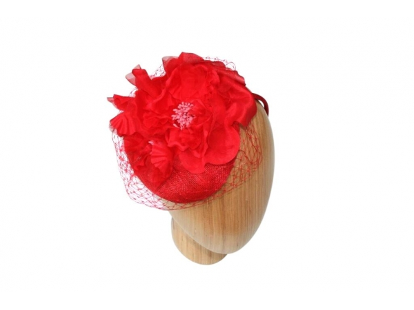 Fiona red fascinator