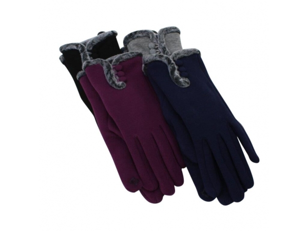 G-002 Winter Glove With Fur Trim: 12pack 4/black 4/grey 2/navy 2/purple.