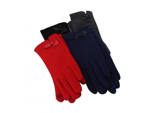 G-206 Winter Glove With Leather Bow: 12 pack : 4/black 4/Dk.grey 2/red 2/navy.
