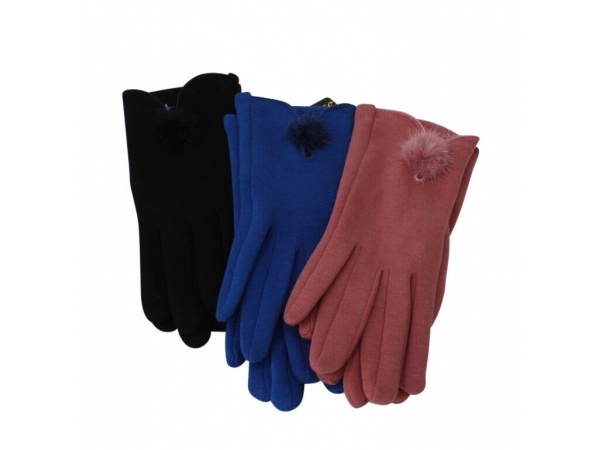 G-207 Winter Glove With Fur Pom-Pom: 12 pack : 4/black 4/pink 4/royal
