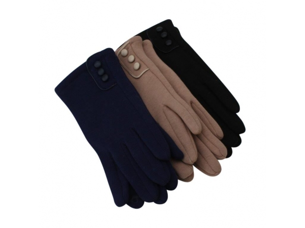 G-227 Winter Glove With 3 Button Design: 12 pack : 4/black 4/navy 4/camel.