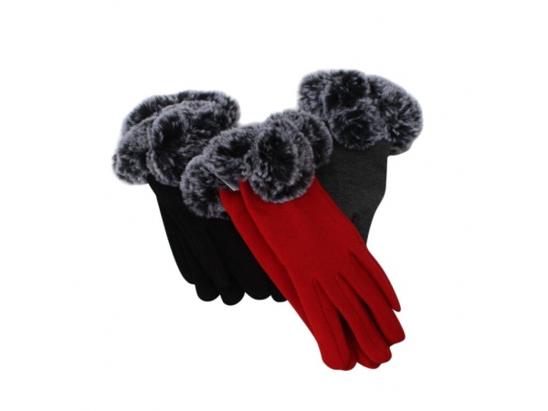 G-242 Winter Glove With Fur Trim: 12pack 6/black 3/red 3/Dk.grey