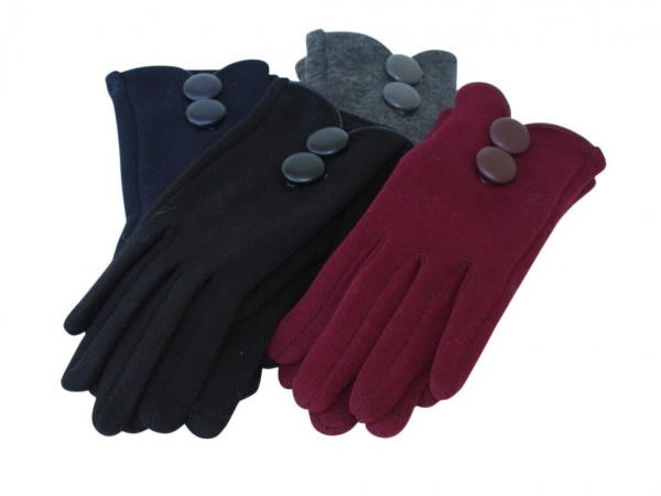 G- Button winter gloves. 12pk asstd colours