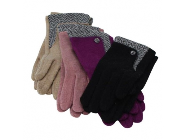 GL-44 Winter Wool Glove : 12 pack : 3/black 3/pink 3/sand 3/purple