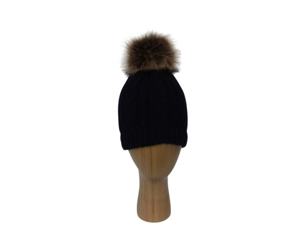 H-003 Black  Cable Stitch Faux Pom-Pom Hat