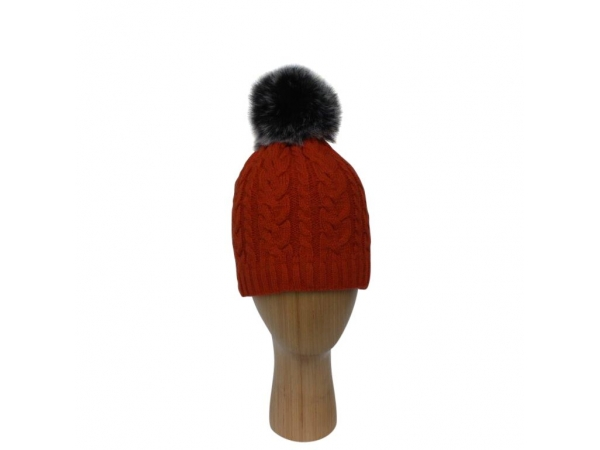 H-003 Orange Cable Stitch Faux Pom-Pom Hat