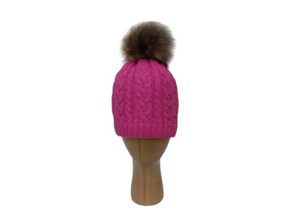 H-003 Fuchsia Cable Stitch Faux Pom-Pom Hat
