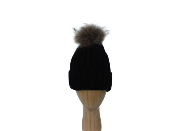 H-006 Black Winter Hat With Detachable Fur Pom-Pom