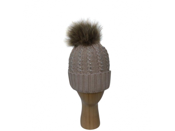 H-007 Beige Winter Hat With Large Detachable Fur Pom-Pom