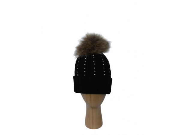 H-007 Black Winter Hat With Large Detachable Real Fur Pom-Pom