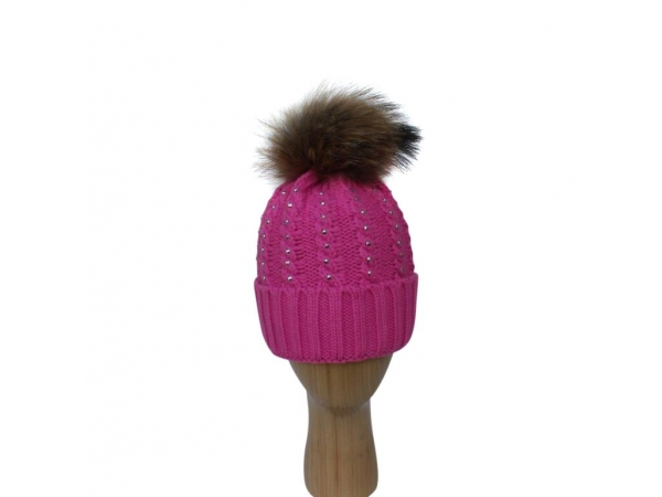 H-007 Fushia Winter Hat With Large Detachable Fur Pom-Pom