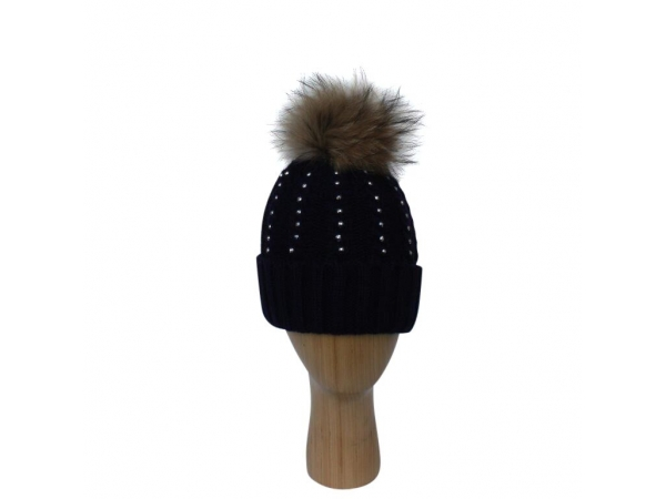 H-007  Navy Winter Hat With Large Detachable Real Fur Pom-Pom