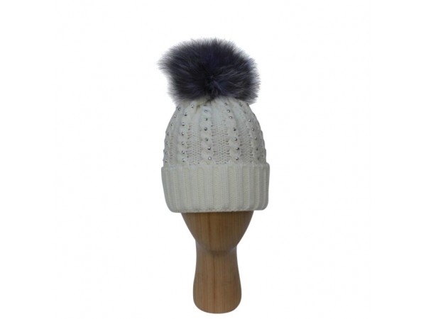 H-007 White Winter Hat With Large Detachable Real Fur Pom-Pom