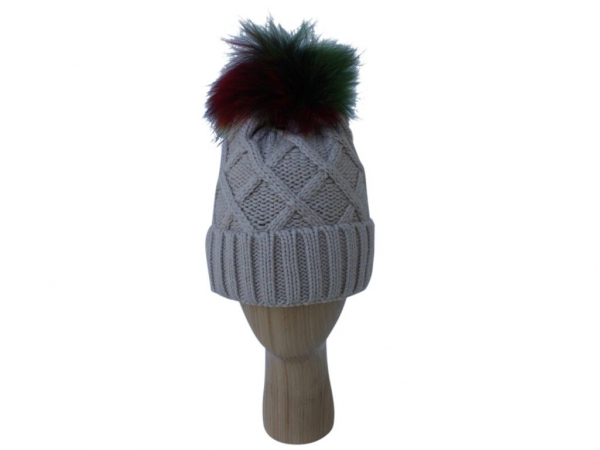 H009 Beige knitted hat with multi colour pom-pom
