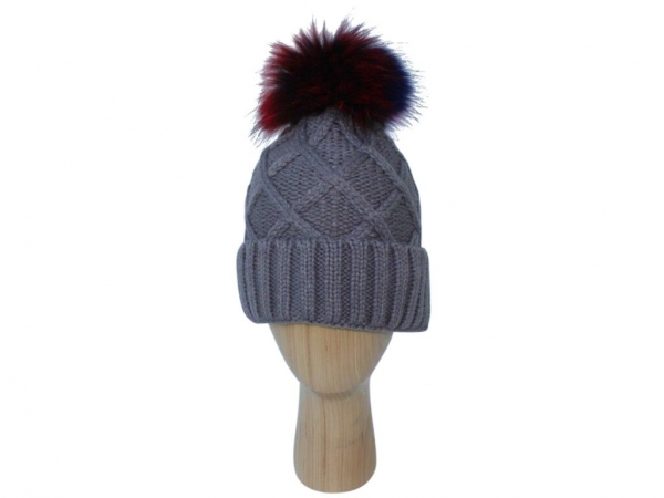 H009 Grey knitted hat with multi colour pom-pom