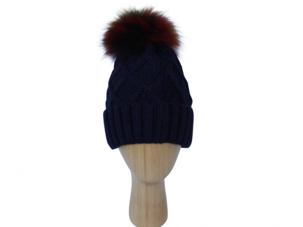 H009 Navy knitted hat with multi colour pom-pom