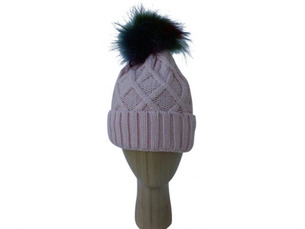 H009 Pink knitted hat with multi colour pom-pom