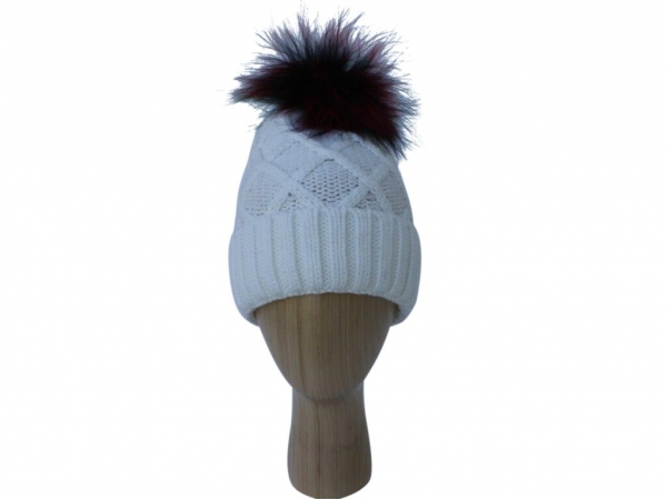 H009 White Knitted Hat With multi Colour Real Fur Pom-Pom