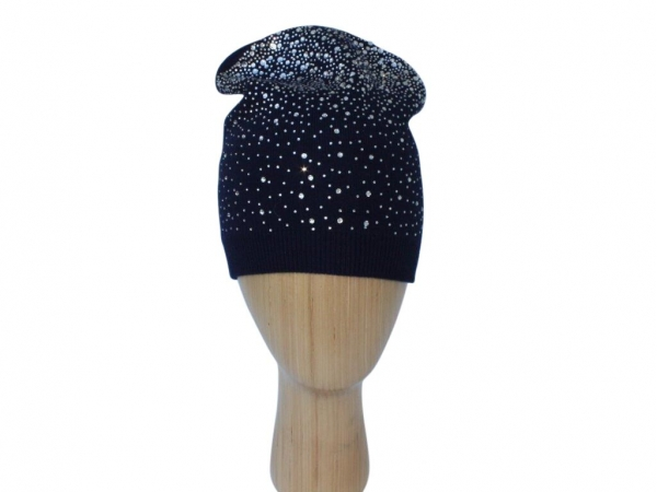 H015 Navy Crystal beanie double layered hat.