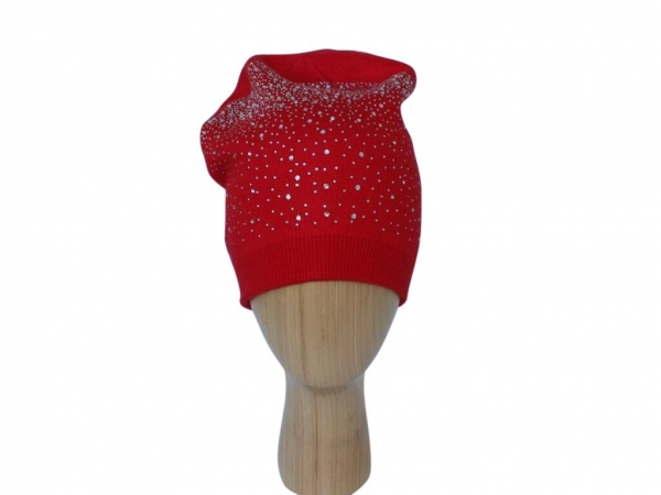 H015 Red Crystal beanie double layered hat.