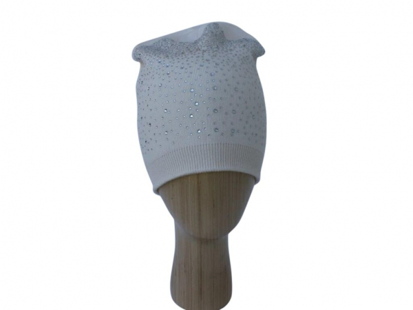H015 Cream Crystal beanie double layered hat.