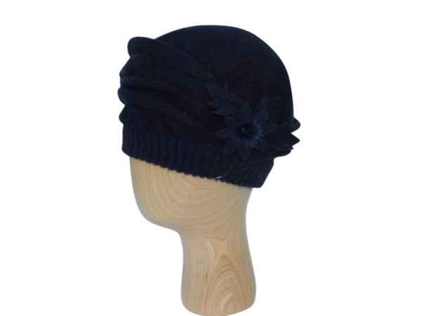 H021 Navy winter beret hat