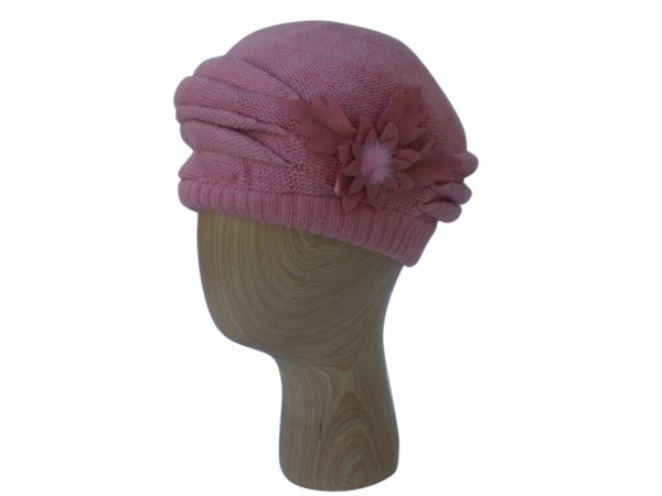 H021 Pink winter beret hat