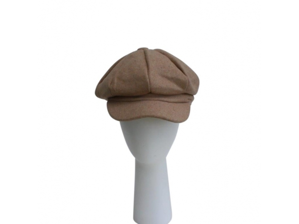 Beige Baker Boy Hat.