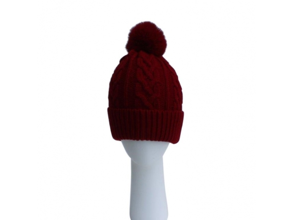 Wine Cable Knit Hat with Faux Fur Pom Pom