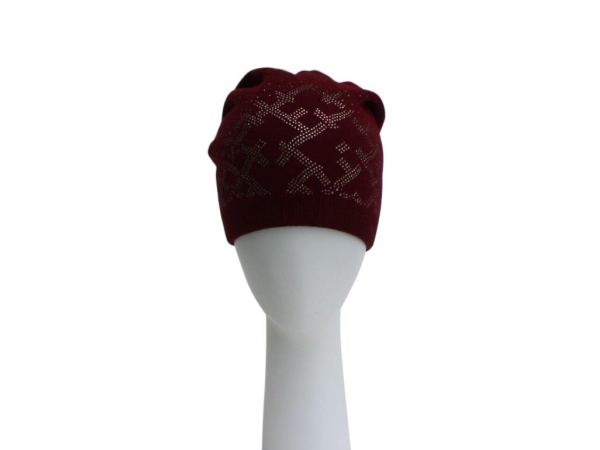 Wine Diamante Beanie