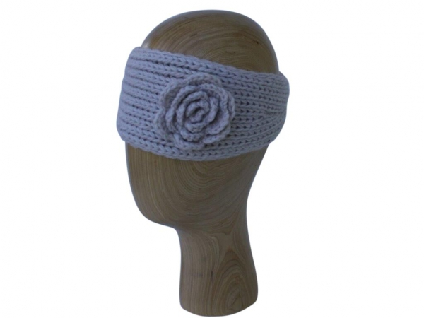 HB002 Beige wool headband with rose detail
