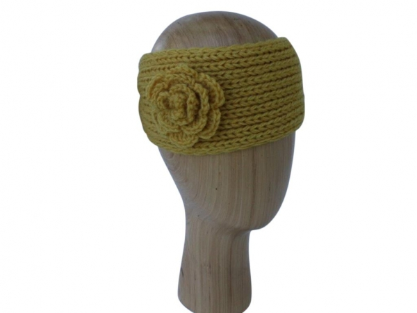 HB002 Yellow wool headband with rose detail