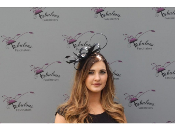 Alice black fascinator