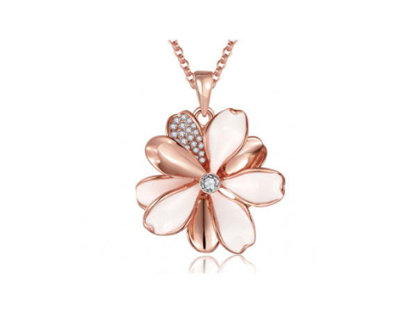 N463 Rose gold flower pendant