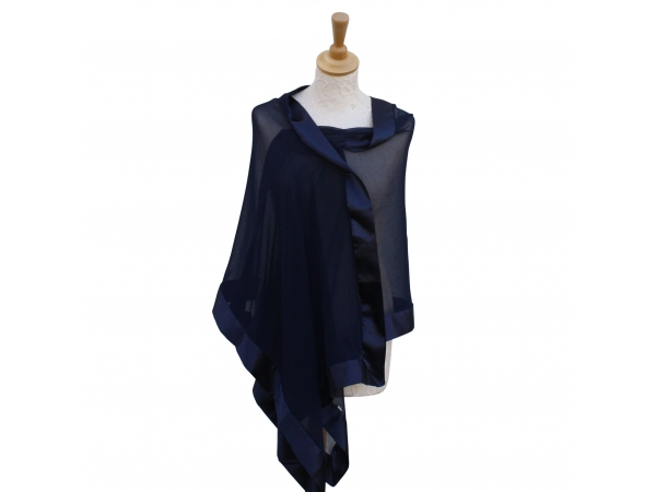 Navy silk wrap
