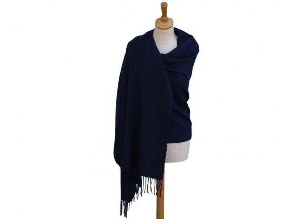 Pashmina Scarf Navy Wool/cashmere