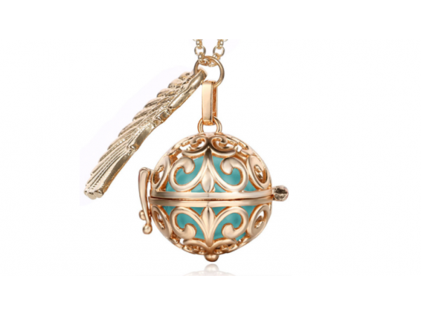 Bola  necklace Rose gold/turquoise
