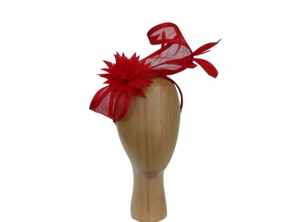 Roz Red Fascinator