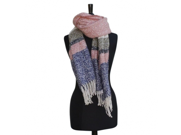 Ws303 Pink Winter Scarf wool/Viscose mix